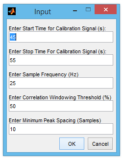 Input Window for correlationwindower.m
